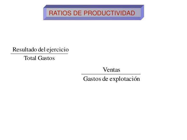 RATIOS DE PRODUCTIVIDAD