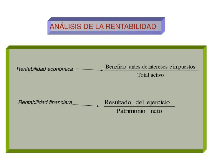 ANÁLISIS DE LA RENTABILIDAD
