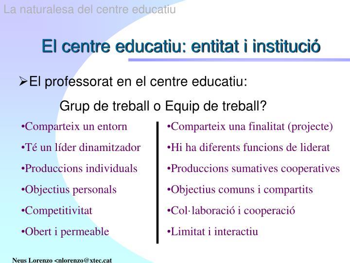 La naturalesa del centre educatiu