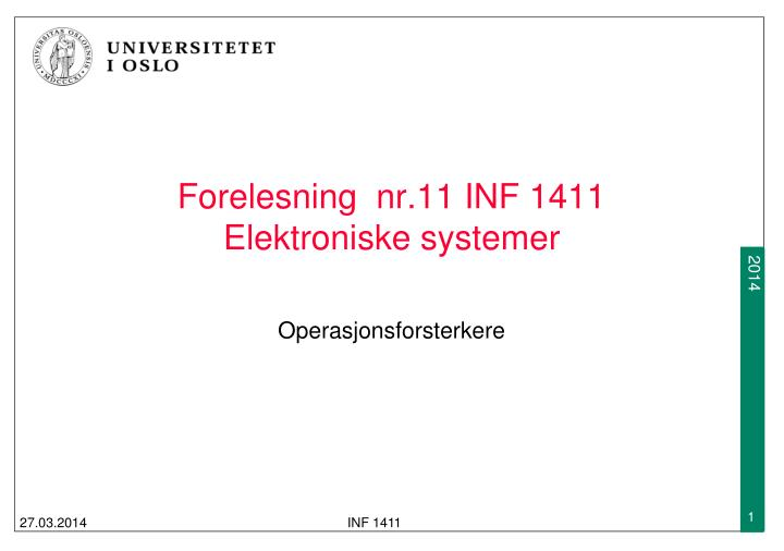 Forelesning  nr.11 INF 1411