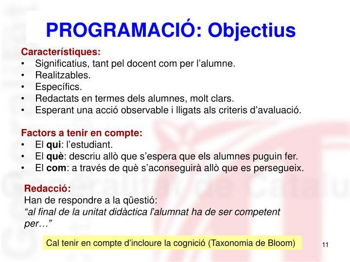 PROGRAMACIÓ: Objectius