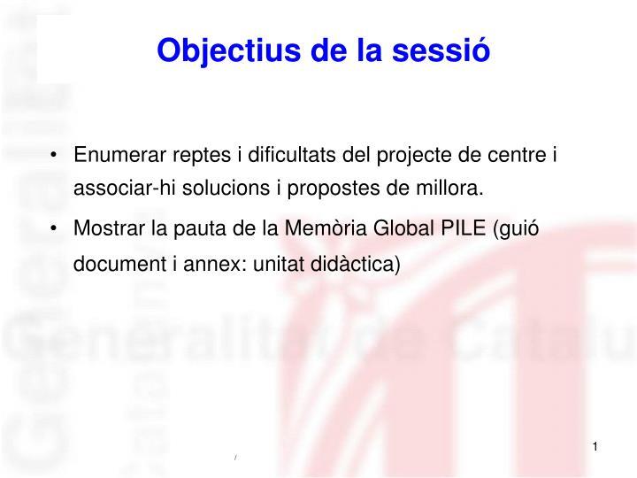 Objectius de la sessió