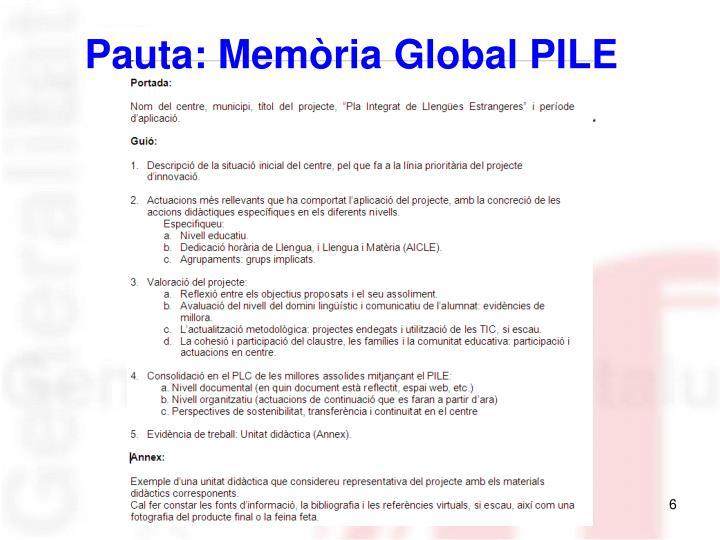 Pauta: Memòria Global PILE