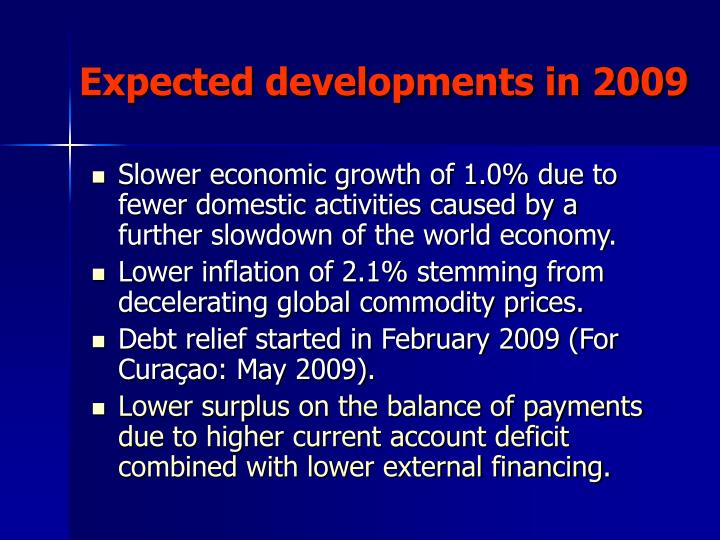 Expected developments in 2009