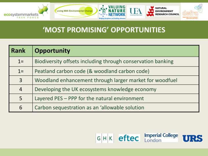 'MOST PROMISING' OPPORTUNITIES