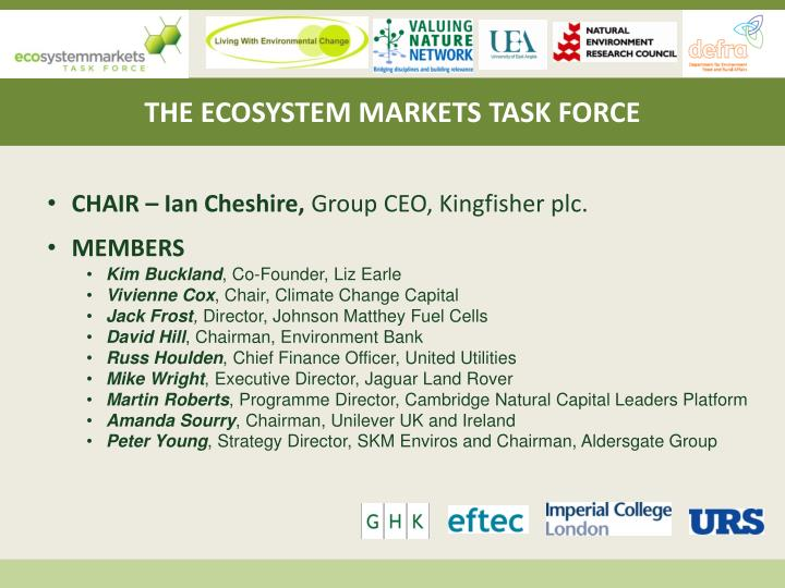 THE ECOSYSTEM MARKETS TASK FORCE