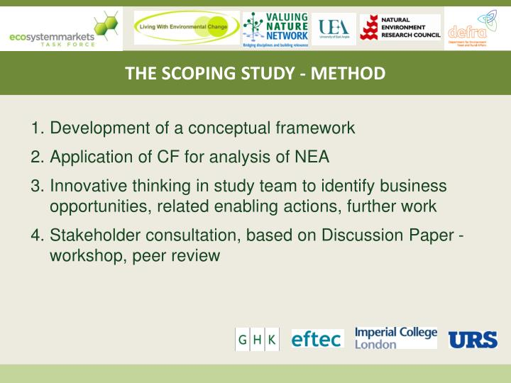THE SCOPING STUDY - METHOD