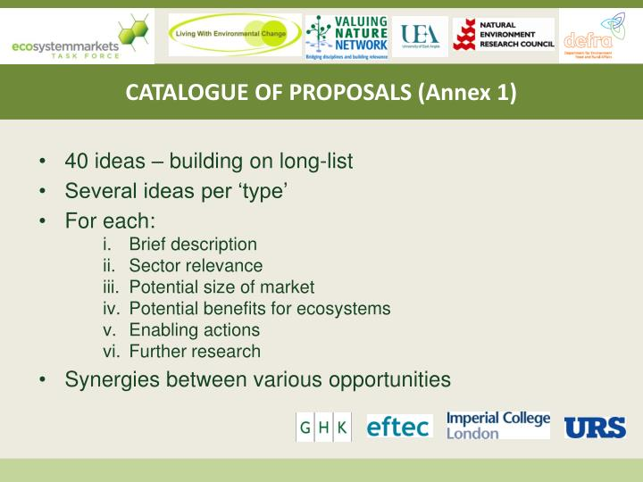 CATALOGUE OF PROPOSALS (Annex 1)