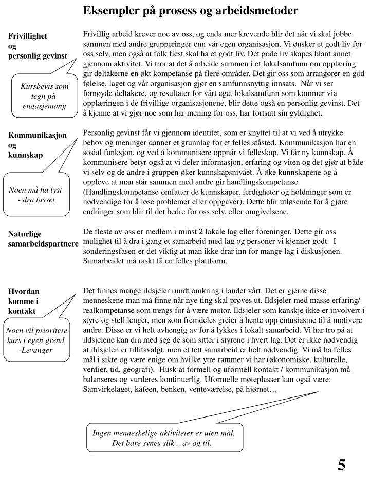 Eksempler på prosess og arbeidsmetoder