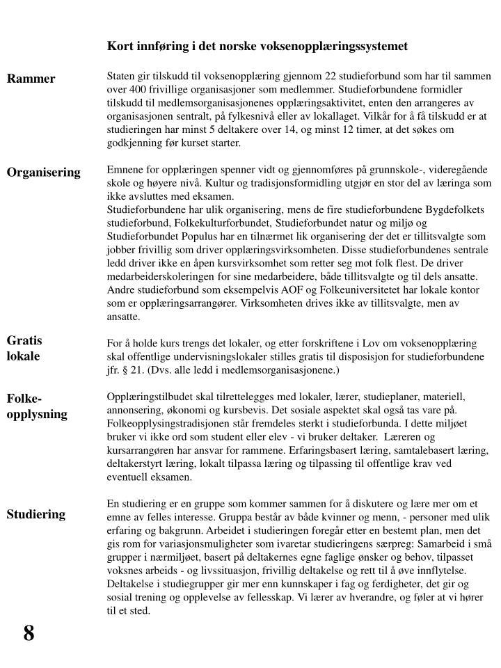 Kort innføring i det norske voksenopplæringssystemet