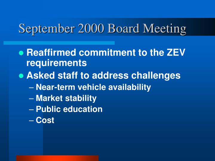 September 2000 Board Meeting