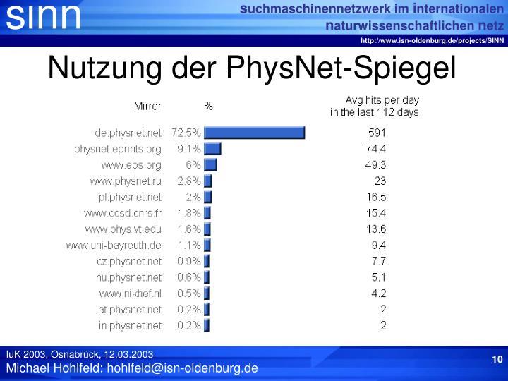 Nutzung der PhysNet-Spiegel