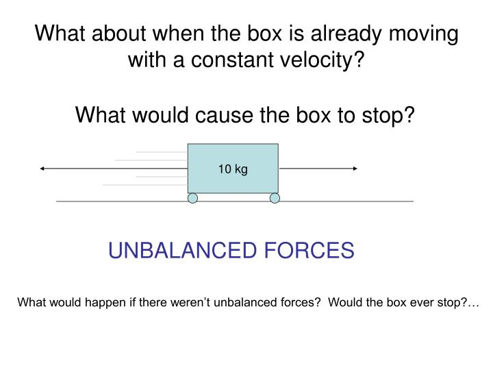 What about when the box is already moving with a constant velocity?