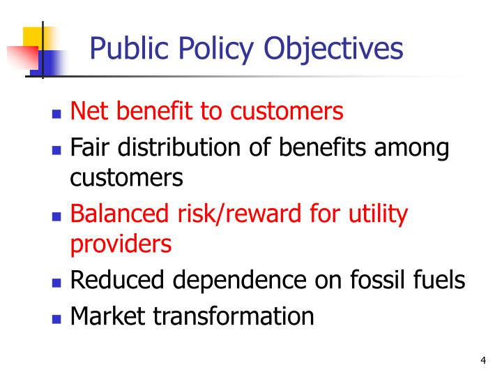 Public Policy Objectives