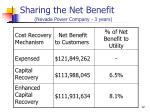sharing the net benefit nevada power company 3 years