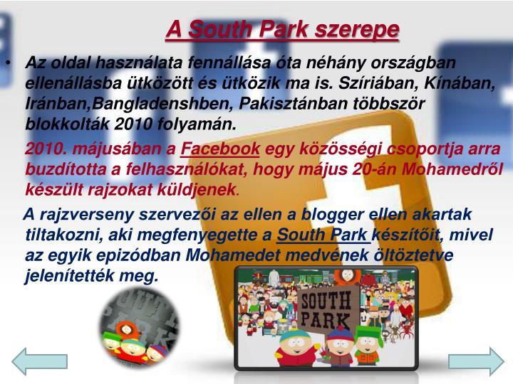 A South Park szerepe