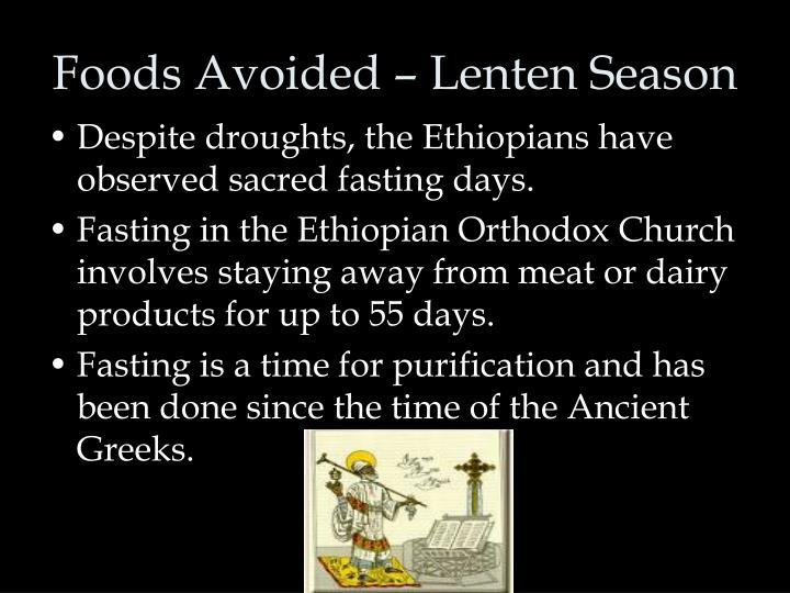 Foods Avoided – Lenten Season