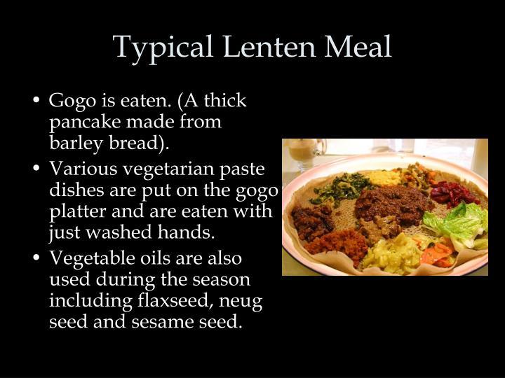 Typical Lenten Meal
