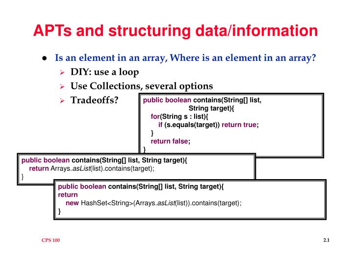apts and structuring data information