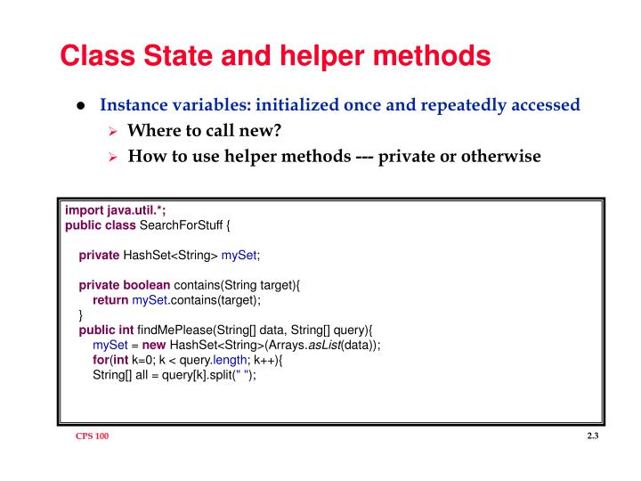 Class State and helper methods