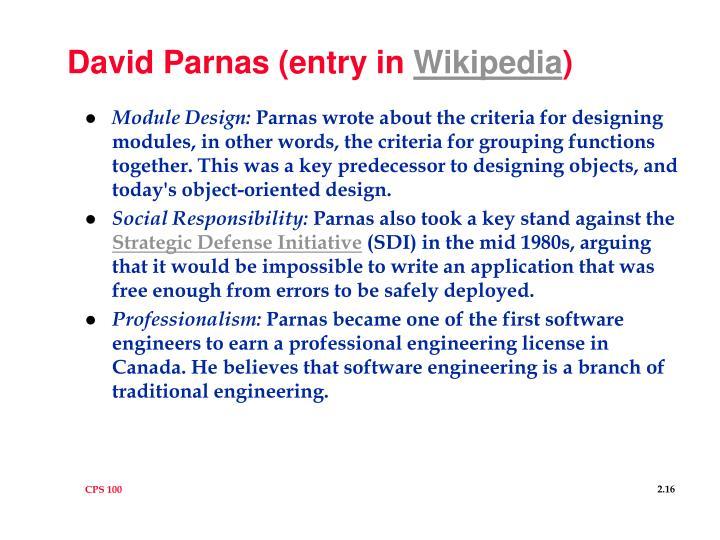 David Parnas (entry in