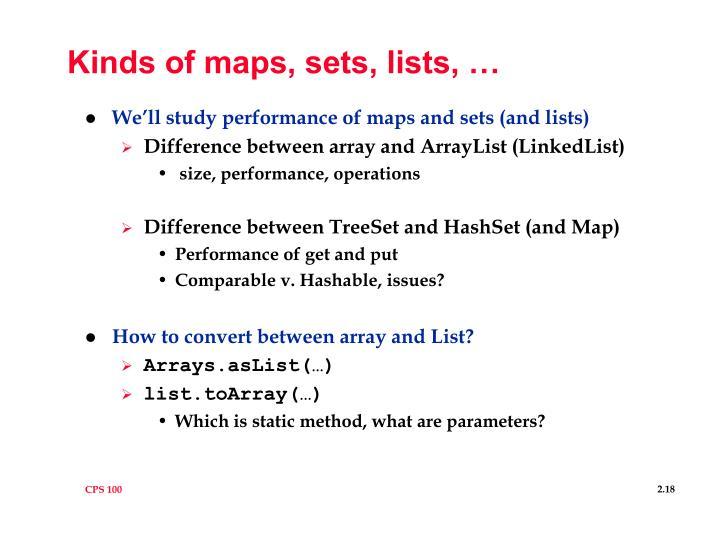 Kinds of maps, sets, lists, …