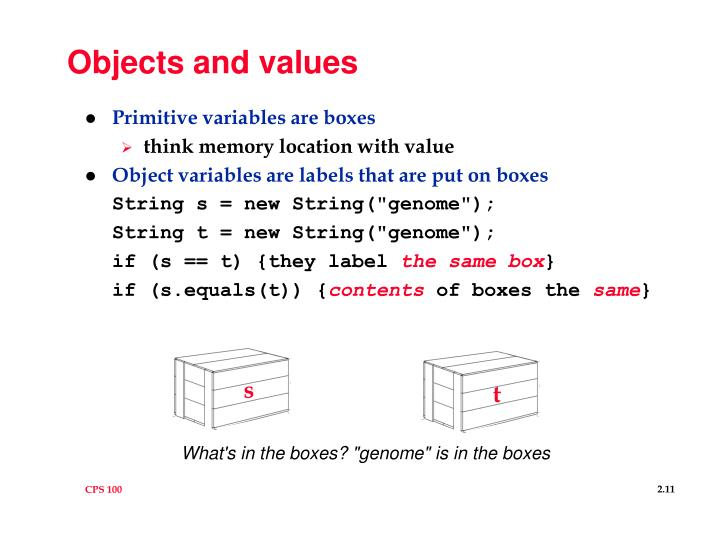 Objects and values