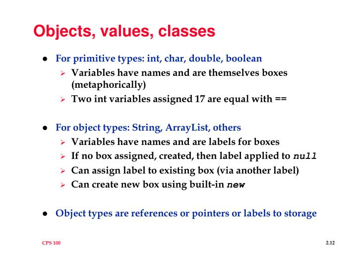 Objects, values, classes