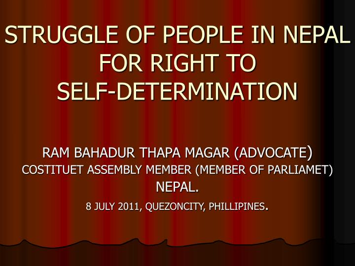 Struggle of people in nepal for right to self determination