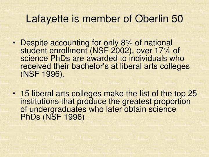 Lafayette is member of Oberlin 50