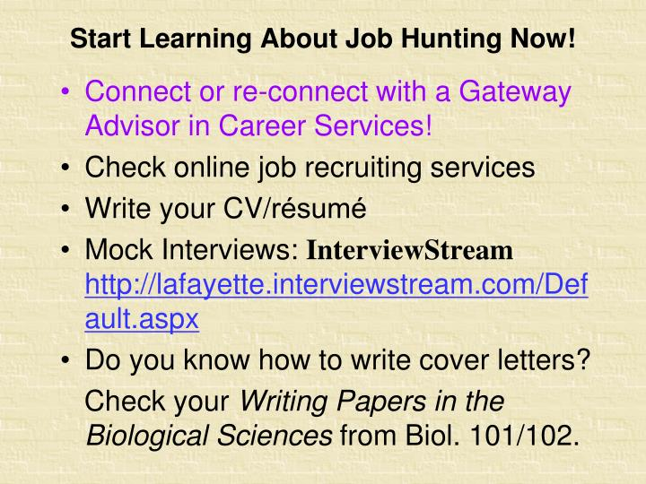 Start Learning About Job Hunting Now!