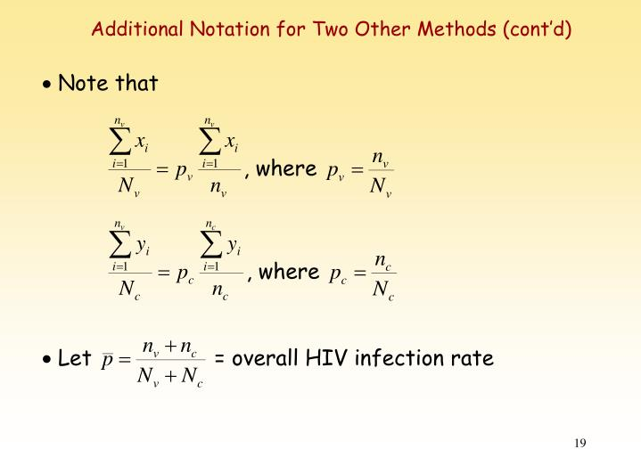 Additional Notation for Two Other Methods (cont'd)