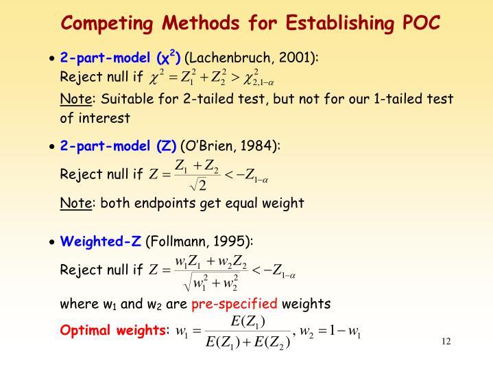 Competing Methods for Establishing POC