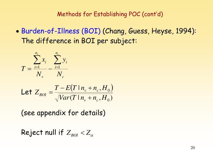 Methods for Establishing POC (cont'd)