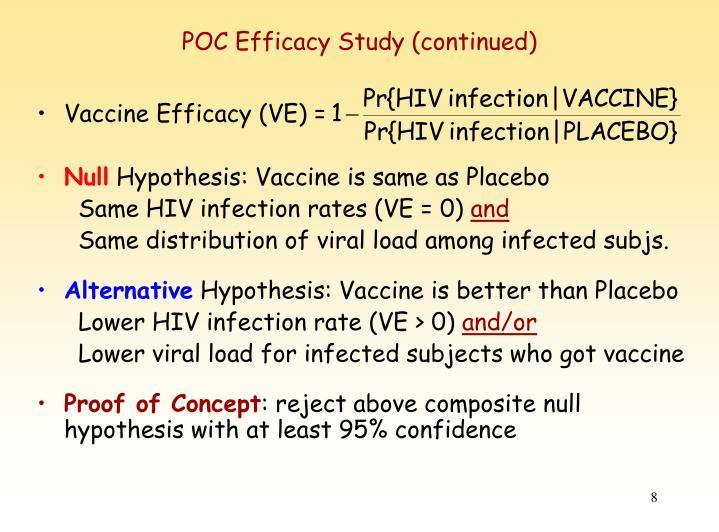 POC Efficacy Study (continued)