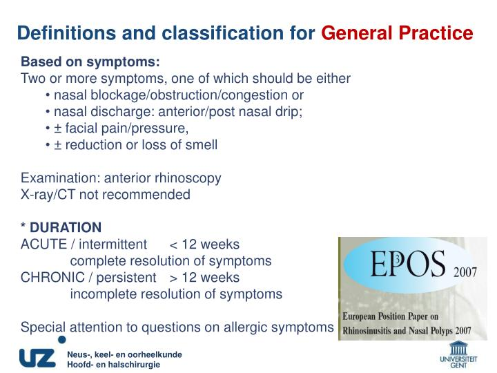 Definitions and classification for general practice