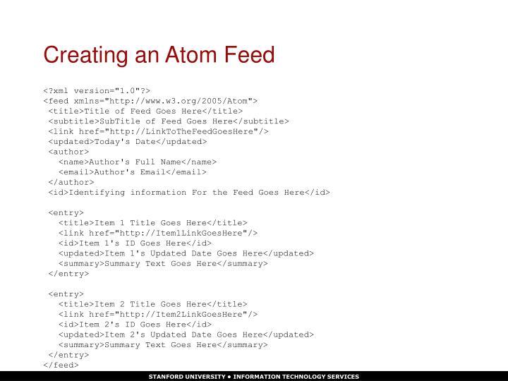 Creating an Atom Feed