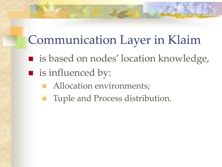 Communication Layer in Klaim