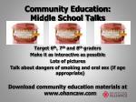 community education middle school talks