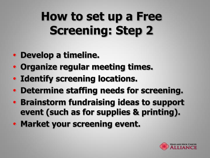 How to set up a Free Screening: Step 2