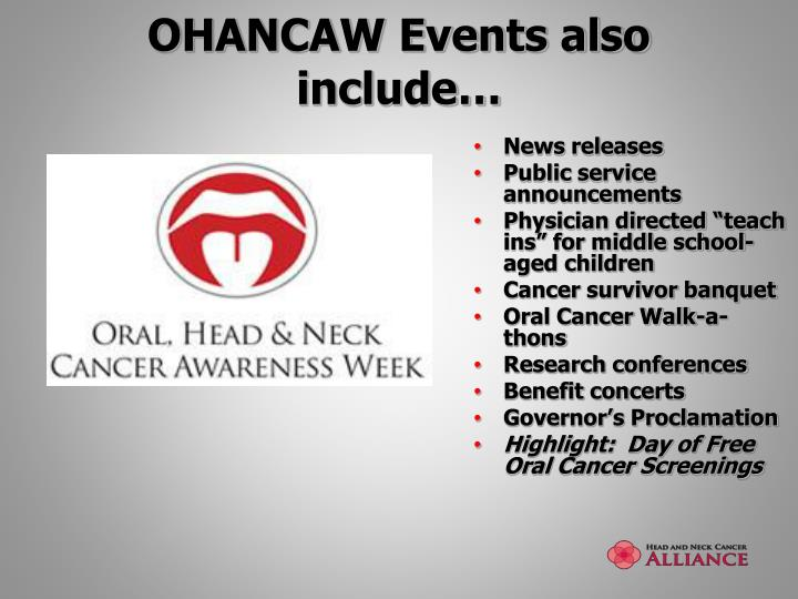 OHANCAW Events also include…