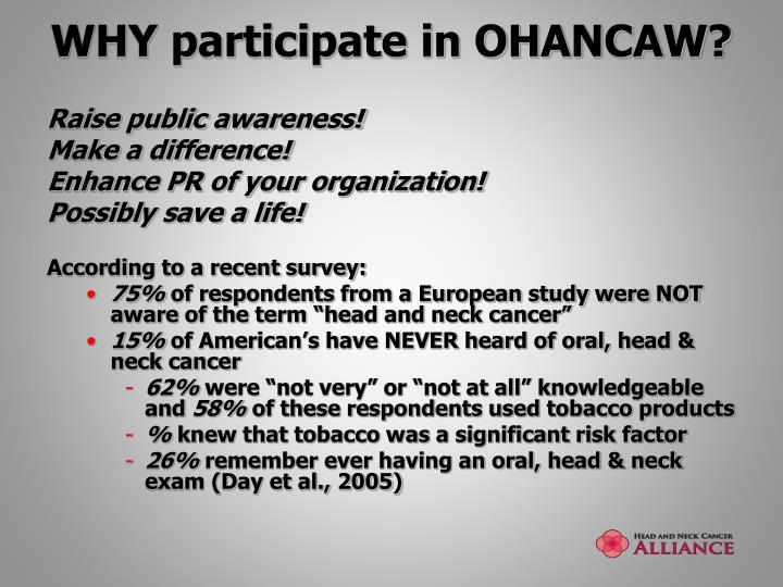 WHY participate in OHANCAW?