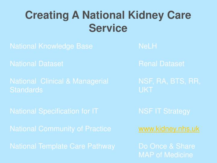 Creating A National Kidney Care Service