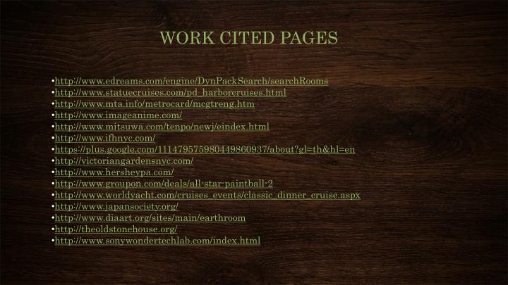 WORK CITED PAGES