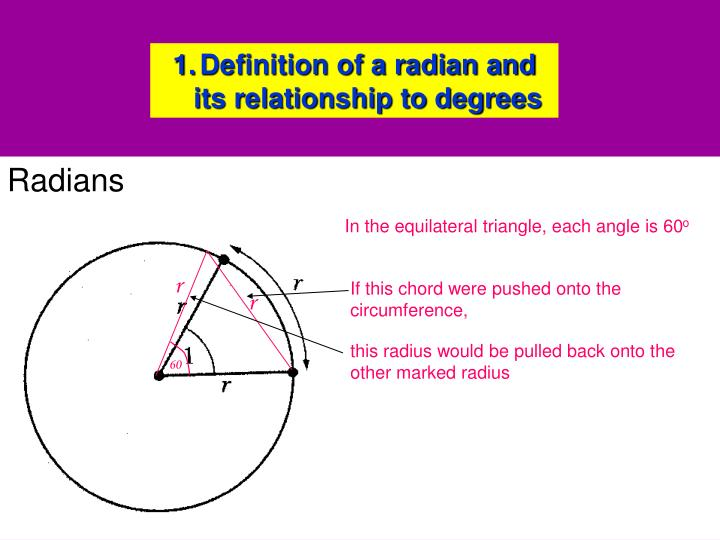 Definition of a radian and its relationship to degrees