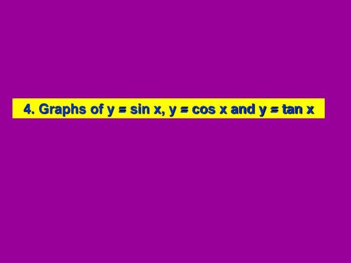 4. Graphs of y = sin x, y = cos x and y = tan x