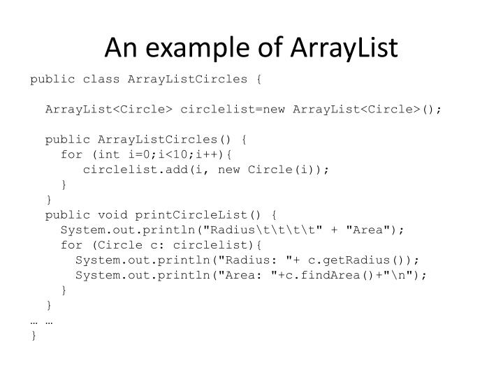 An example of ArrayList