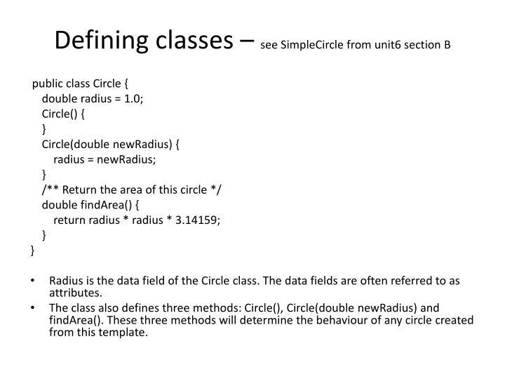 Defining classes –