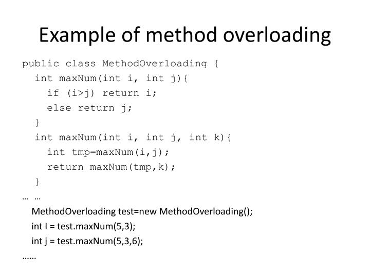 Example of method overloading