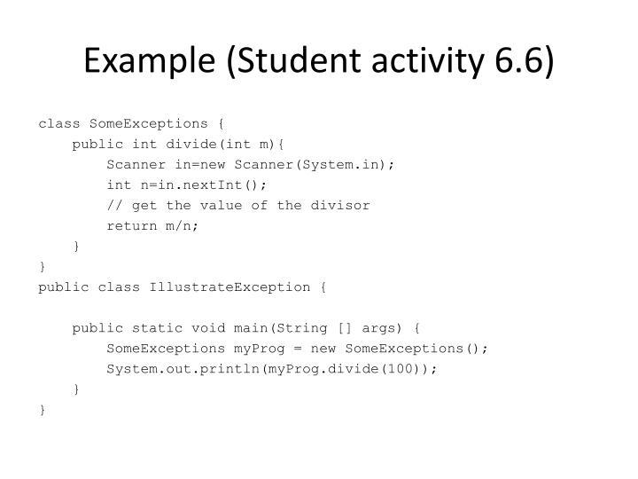 Example (Student activity 6.6)